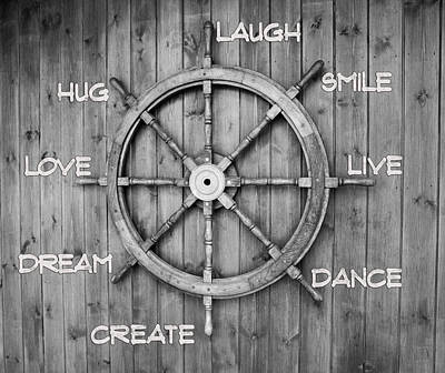Laugh Painting - Black And White Inspiring Typography On  Wooden Helm by Georgeta Blanaru