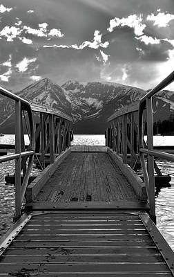 Photograph - Black And White Jackson Lake Dock by Dan Sproul