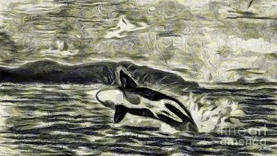 Orca Mixed Media - Black And White Jump by Julio Haro