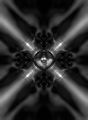 Digital Art - Black And White Kaleidoscope Music Speaker  by Steve Ball