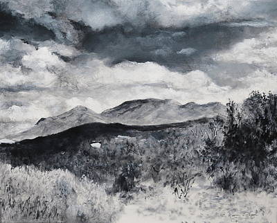 Painting - Black And White Landscape by M Diane Bonaparte