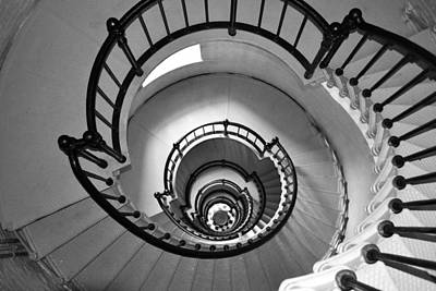 Photograph - Black And White - Lighthouse Stairs by rd Erickson