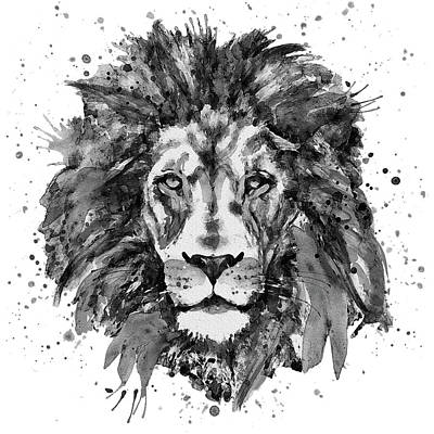 Africa Mixed Media - Black And White Lion Head  by Marian Voicu