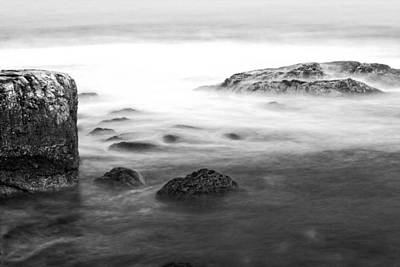 Photograph - Black And White Long Exposure Of Ocean Waves And Rocks by Keith Webber Jr
