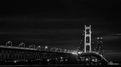 Photograph - Black And White Mackinac Bridge At Night by Dan Sproul