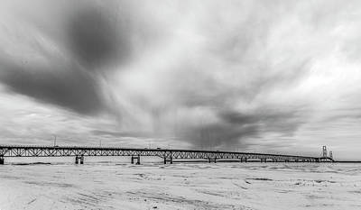 Print featuring the photograph Black And White Mackinac Bridge Winter by John McGraw
