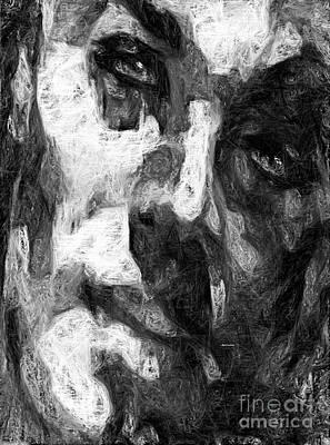 Digital Art - Black And White Male Face by Rafael Salazar