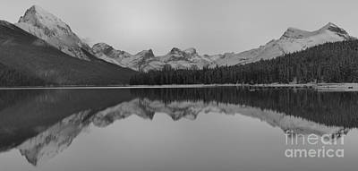 Photograph - Black And White Maligne Lake Reflections by Adam Jewell