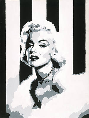 Painting - Black And White Marilyn by Ashley Price