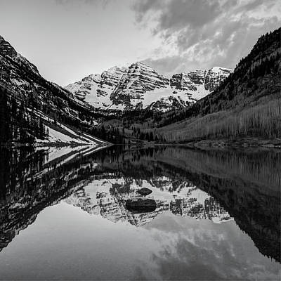 Photograph - Black And White Maroon Bells Colorado Mountains Reflections by Gregory Ballos