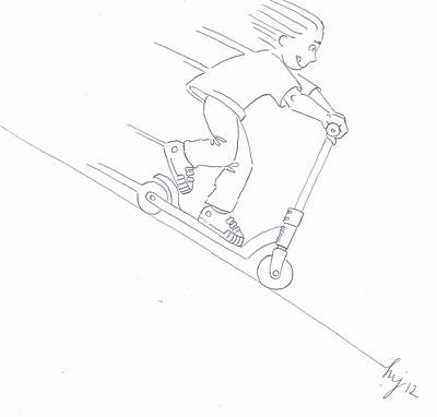 Black And White Micro Scooter Downhill Drawing Art Print