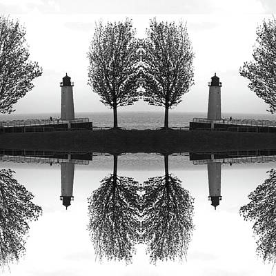 White House Mixed Media - Black And White Mirrored Lighthouse by Brandi Fitzgerald