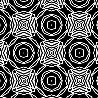 Digital Art - Black And White Modern Roses- Pattern Art By Linda Woods by Linda Woods