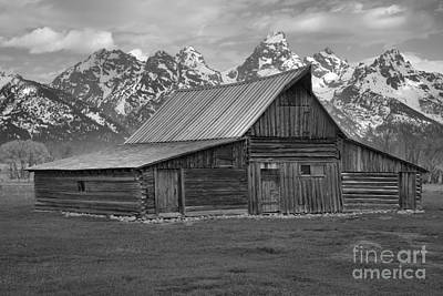 Black And White Mormon Row Barn Art Print by Adam Jewell