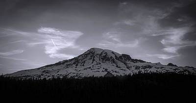 Photograph - Black And White Mount Rainier Panorama by Dan Sproul