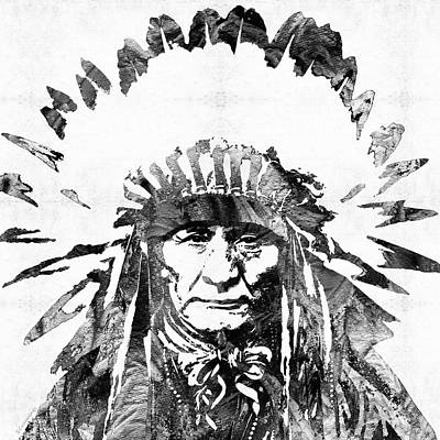Black And White Native American Chief Art Print by Sharon Cummings