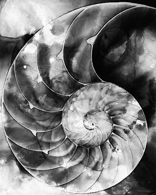 Fractal Painting - Black And White Nautilus Shell By Sharon Cummings by Sharon Cummings