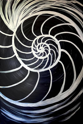 Black And White Nautilus Spiral Art Print