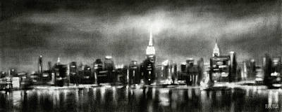Painting - Black And White New York Skyline Night by Beverly Brown