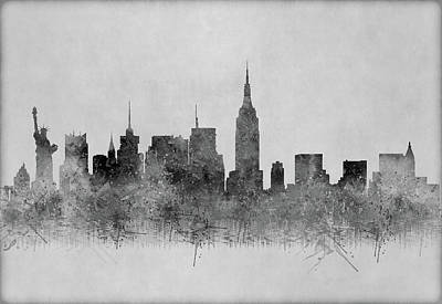 Art Print featuring the digital art Black And White New York Skylines Splashes And Reflections by Georgeta Blanaru