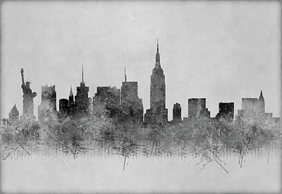 Digital Art - Black And White New York Skylines Splashes And Reflections by Georgeta Blanaru