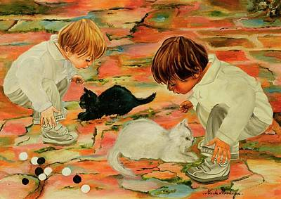 Two Little Boys Painting - Black And White by Nicole MARBAISE
