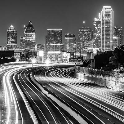 Photograph - Black And White Night Dallas Skyline Square Format by Gregory Ballos