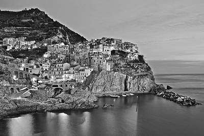 Photograph - Black And White Night For Manarola by Frozen in Time Fine Art Photography