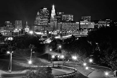 Photograph - Black And White Nights Hartford Connecticut by Frozen in Time Fine Art Photography