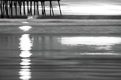 Photograph - Black And White Ocean Beach Waves by Gregory Ballos