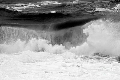 Photograph - Black And White Ocean Breakers by Adam Jewell