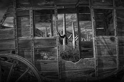 Black And White Of A Western Stage Coach Among The Saguaro Cactus Art Print