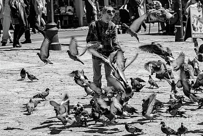 Black And White Of Boy Feeding Pigeons In Sarajevo, Bosnia And Herzegovina  Art Print