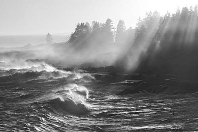 Photograph - Black And White Of Large Waves Lightbeams Pemaquid Point Maine by Keith Webber Jr