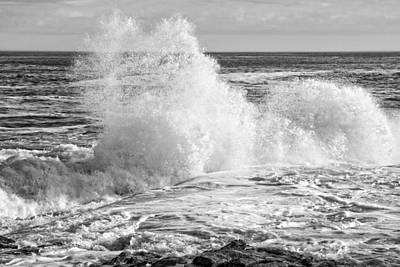 Photograph - Black And White Of Large Waves On Rocky Of Coast Of Maine by Keith Webber Jr