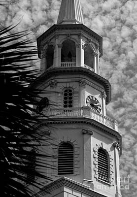 Photograph - Black And White Of St. Michael's Church Steeple by Donnie Whitaker