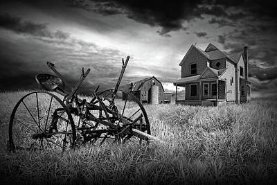 Black And White Of The Decline Of The Small Farm Art Print