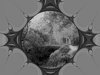 Digital Art - Black And White Of The Little Red Bridge by Nancy Pauling