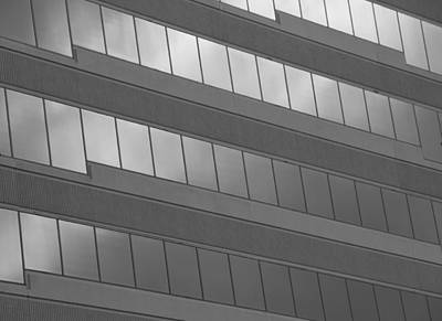 Photograph - Black And White Office Windows by Dan Sproul