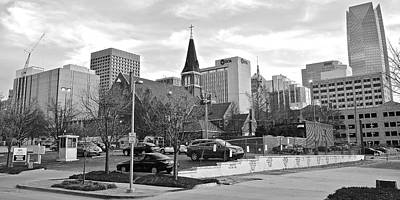 Photograph - Black And White Okc Pano by Frozen in Time Fine Art Photography