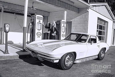 Photograph - black and white Old time service station with 1967 corvette model Ally Darst by Dan Friend