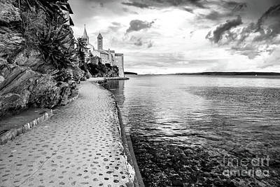Photograph - Black And White - Old Town Rab Meets The Adriatic, Rab, Croatia by Global Light Photography - Nicole Leffer