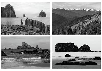 Pacific Ocean Mixed Media - Black And White Olympic National Park Collage by Dan Sproul