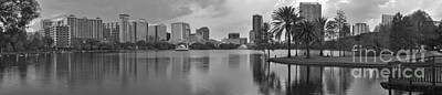 Photograph - Black And White Orlando Florida Skyline by Adam Jewell