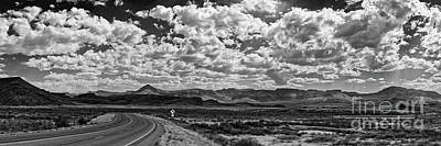 Photograph - Black And White Panorama Of Davis Mountains  - Jefferson Davis County West Texas by Silvio Ligutti