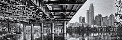 Lady Bird Lake Photograph - Black And White Panorama Of Downtown Austin Skyline Under The Bridge - Austin Texas  by Silvio Ligutti