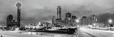 Black And White Panorama Of Downtown Dallas Skyline From South Houston Street - Dallas North Texas Art Print