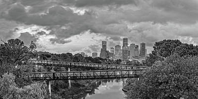 Photograph - Black And White Panorama Of Downtown Houston And Buffalo Bayou From The Studemont Bridge - Texas by Silvio Ligutti