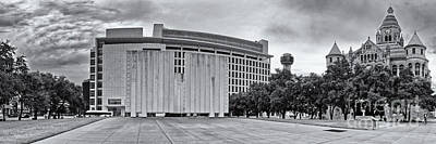 Black And White Panorama Of Jfk Memorial And Old Red Museum - Dallas Texas Art Print by Silvio Ligutti
