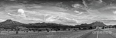 Photograph - Black And White Panorama Of Sawtooth Mountain And Davis Mountains Nature Preserve - Fort Davis Texas by Silvio Ligutti
